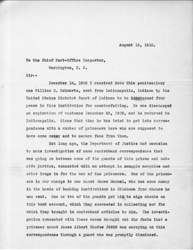 Schwartz, W. B. - 1910-08-15 Letter from Warden, p. 1