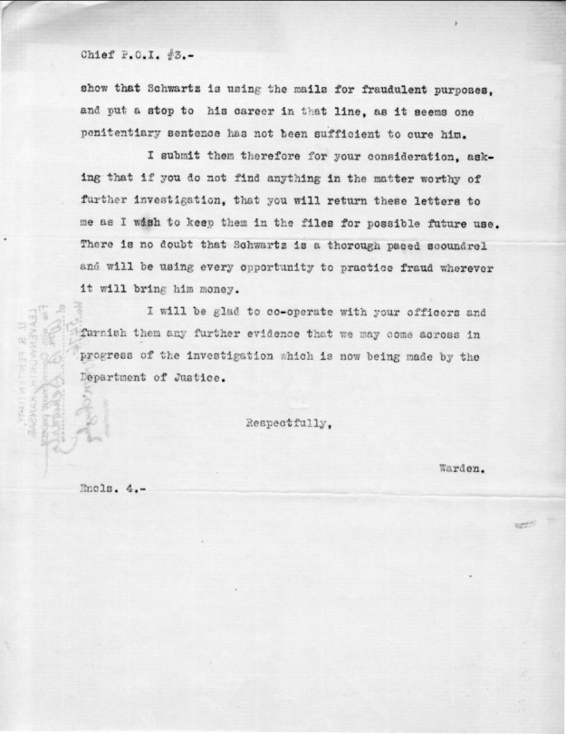 Schwartz, W. B. - 1910-08-15 Letter from Warden, p. 3