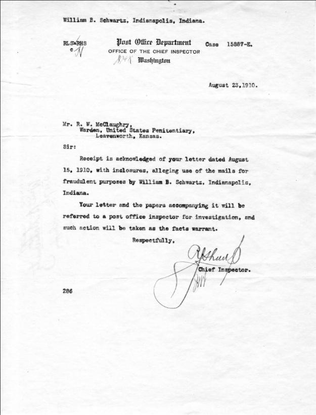 Schwartz, W. B. - 1910-08-23 Letter from Chief Inspector