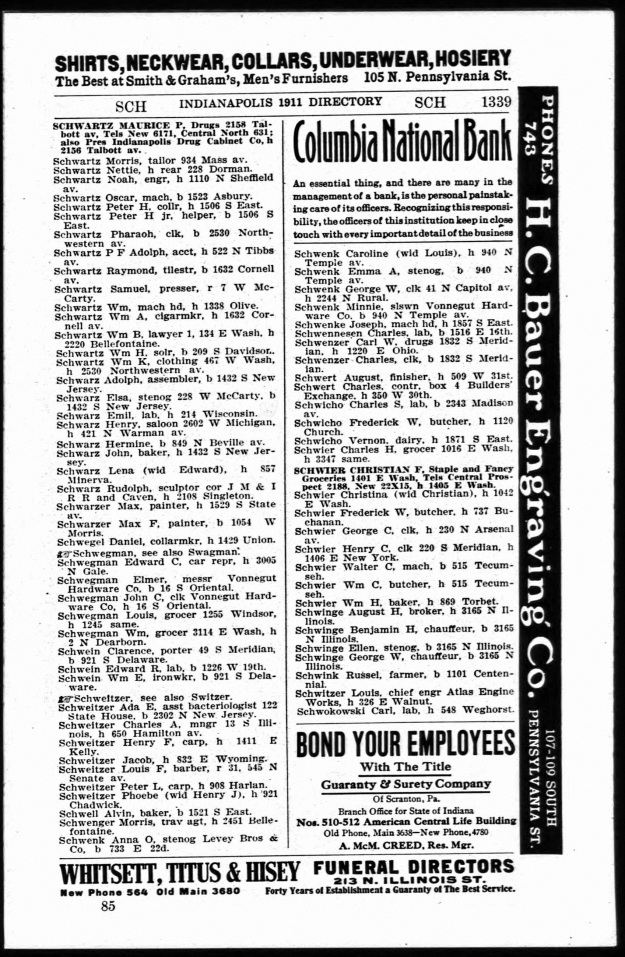Schwartz, W. B. - Indianapolis directory, 1911