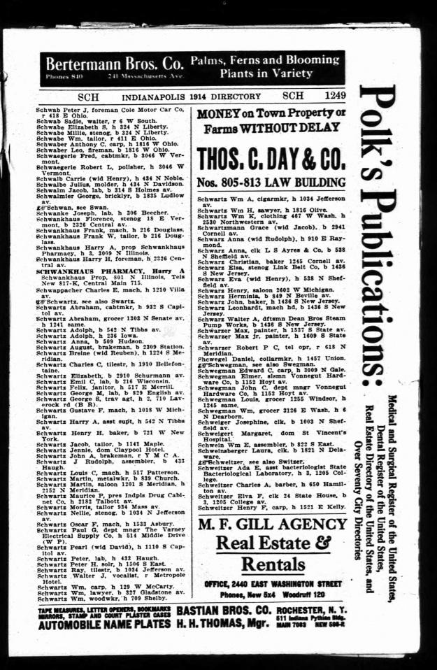 Schwartz, W. B. - Indianapolis directory, 1914