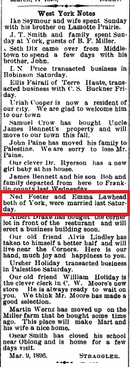 Foster-Lawhead Marriage Announcement, 1896