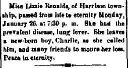 Reynolds, Lizzie - Obituary, Brazil Miner, 31 January 1885
