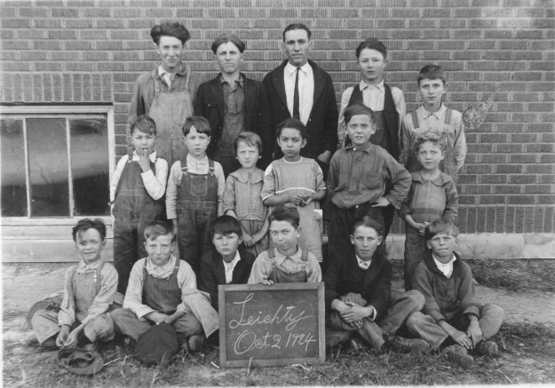 Clay County Leichty School 1920s - Teacher Roscoe S. Yegerlehner (Photograph from the private collection of Deborah Sweeney)