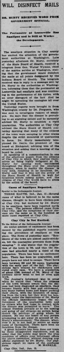 Indianapolis Journal - 1900-01-18 (Smallpox epidemic)
