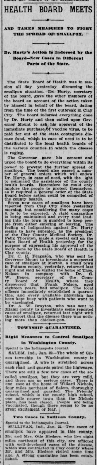 Indianapolis Journal - 1900-01-23 (Smallpox epidemic)