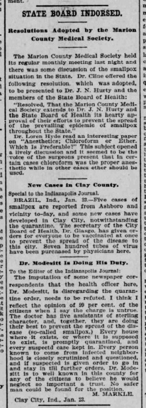Indianapolis Journal - 1900-01-24 (Smallpox epidemic)
