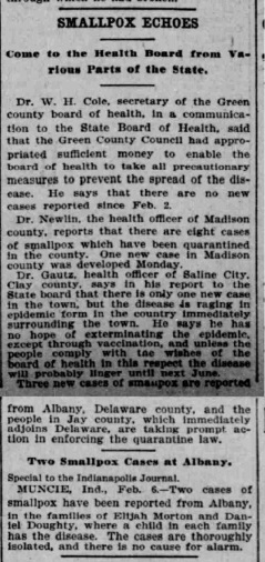Indianapolis Journal - 1900-02-07 (Smallpox epidemic)