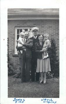Glenn holding James L., Jim, Gladys holding David September 14, 1943