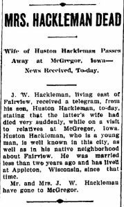 Connersville Evening News 1907-10-02 Mrs. Hackleman dead