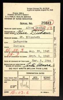 Diedam, Alice - Nursing Cadet card