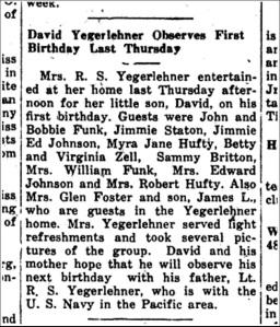 Newton County Enterprise - 1943-09-30 David Yegerlehner 1st birthday