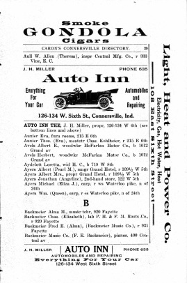 Connersville Directory, 1915 - Backmeier
