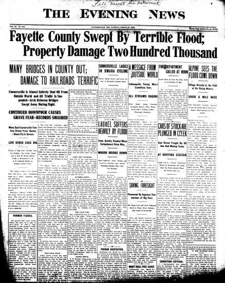 Connersville Evening News 1913-03-25 Great Flood