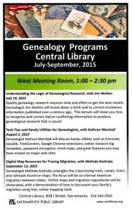 Genealogy Programs Summer Sac Library