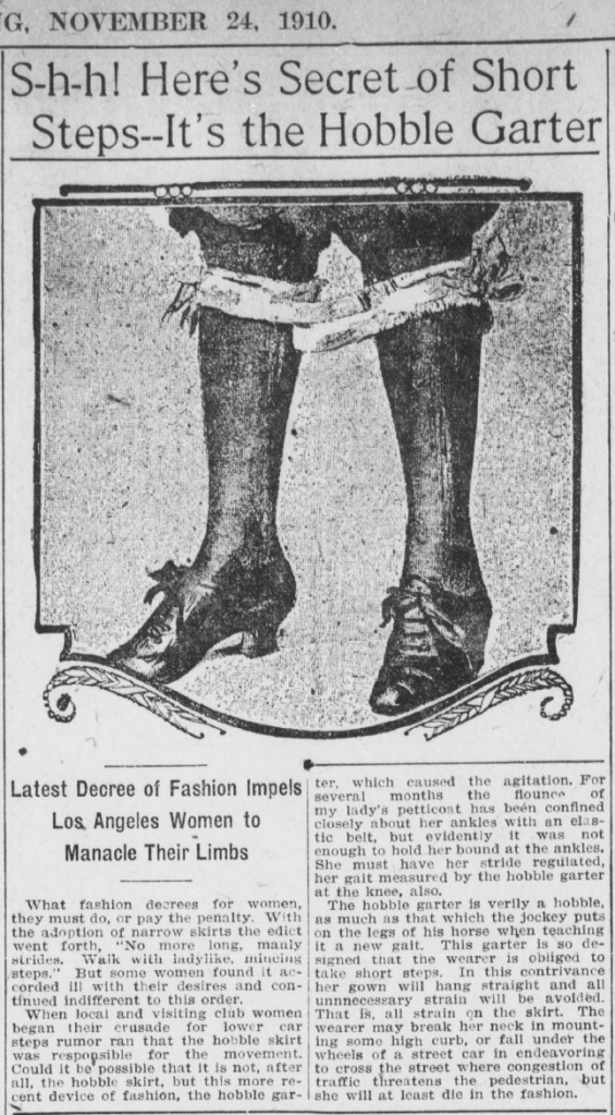Los Angeles Herald 1910-11-24 Hobble Skirt
