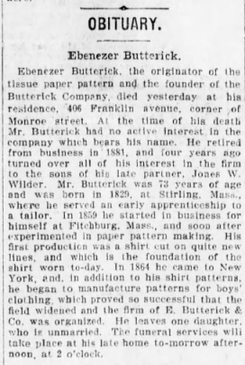 Butterick, Ebenezer - Obituary, 1903