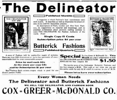 Delineator Butterick Advertisement