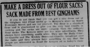 Gingham Flour sack ad