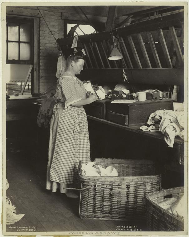 Woman Worker making Arrow Collars, 1906