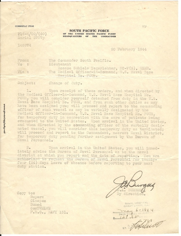 1944-02-20 - Change of Duty