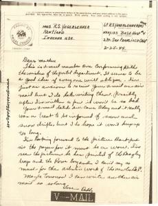 February 25, 1944 V-mail