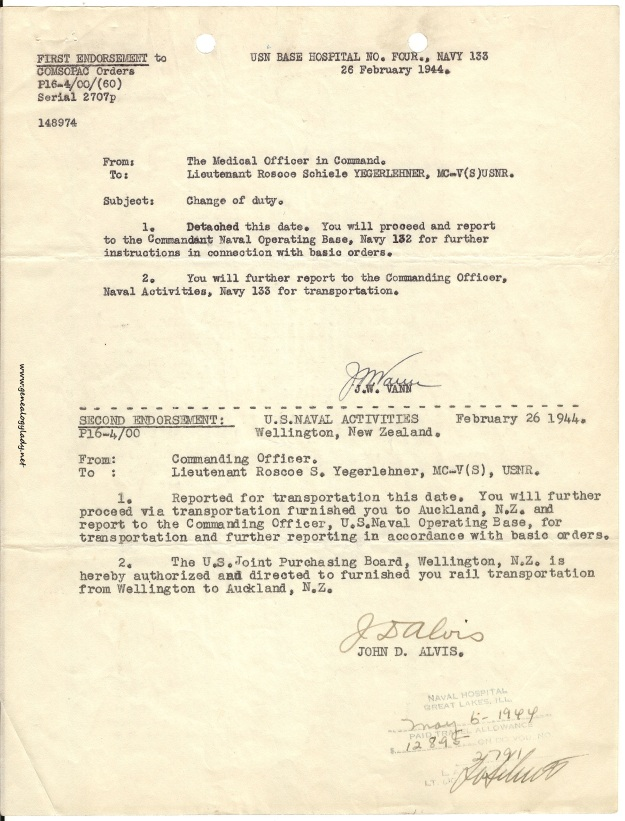 Change of Duty orders, dated February 26, 1944