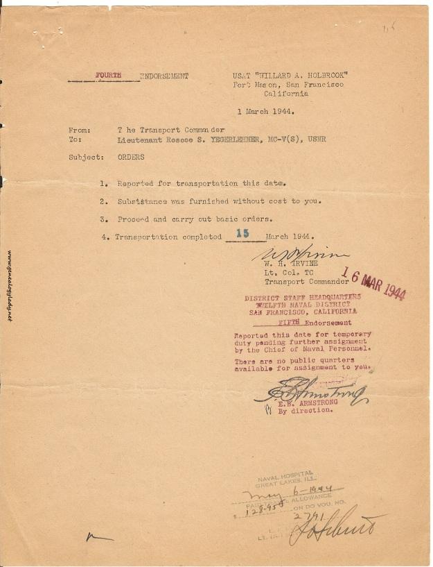 1944-03-01 Fourth Endorsement USAT Willard A. Holbrook