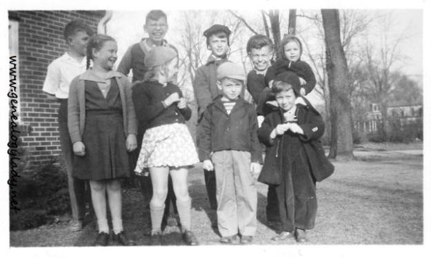 Mark's Birthday Party (back row: Buddy Krull, John, David Diedam, Mark holding David; front row: Virginia Zell, Betty Zell, Bobby Funk & Jimmy Staton)