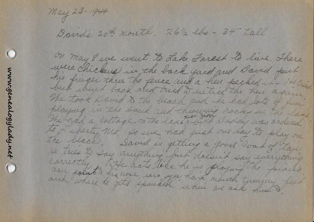 Baby Book - May 23, 1944 summary