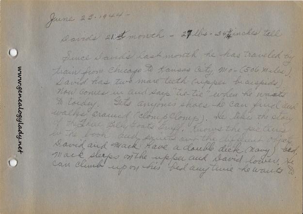 David's Baby Book, June 23, 1944