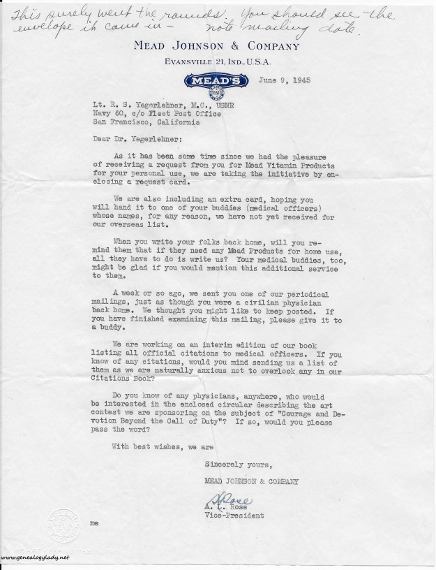 1945-08-23 (GRY) #2 Mead Johnson letter