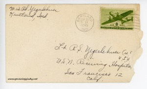 September 21, 1945 envelope