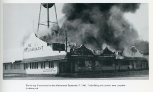 Photograph of the Nu-Joy fire, from the Kentland-Newton County Centennial, 1860-1960. Note the incorrect date!