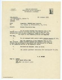 October 26, 1945 - Separation Order