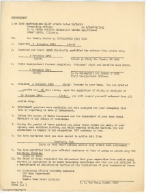 November 3, 1945 - Release from Active Duty