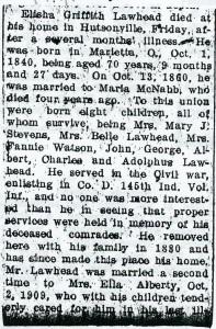 Laughead, Elijah G. - Obituary, 1911