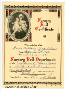 YEG1943 - David Yegerlehner Nursery Roll, p. 1